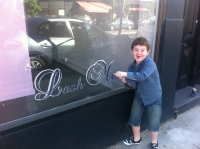 Katrina's young son Hudson excited about the new salon